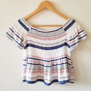 NEW Style Envy Blush Stripe Short Sleeve Crop Top